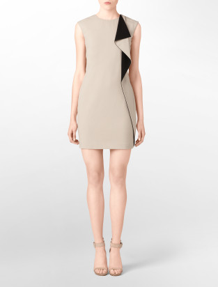 Calvin Klein colorblock ruffle sheath dress