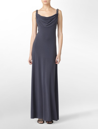Calvin Klein Embellished cowlneck matte jersey long formal dress