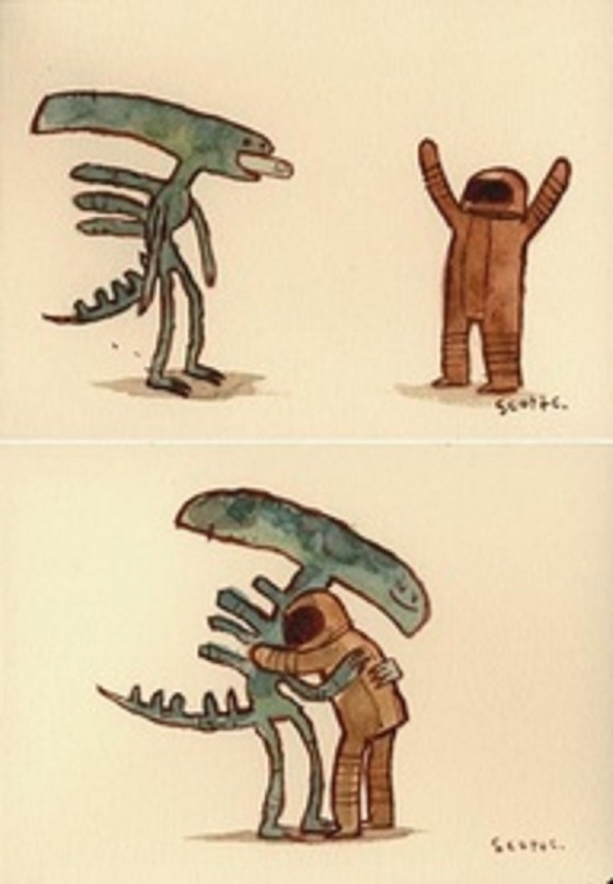 Human and alien hug