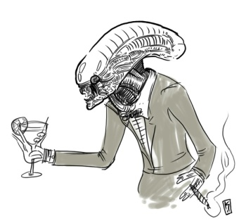 Alien with martini