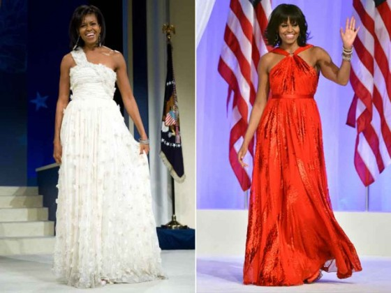 Michelle Obama inaugural gowns 2009 and 2013