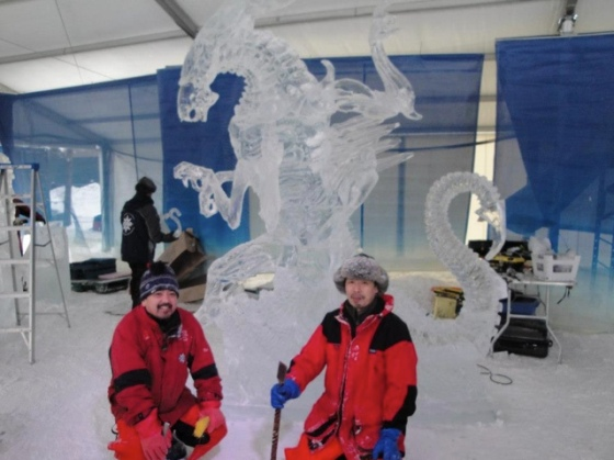 Ice Sculpture with creators