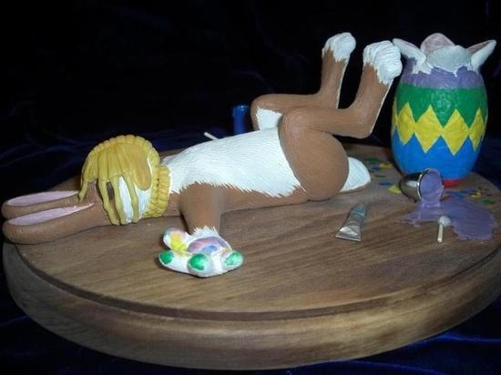 Easter bunny getting a hug